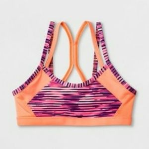 NWT Girls Novelty Cami Sports Bra Neon Orange XL